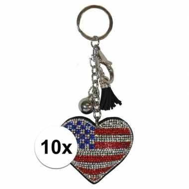 10x sleutelhanger met usa/amerikaanse vlag