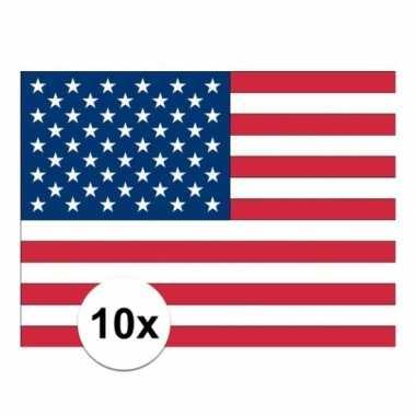10x stickertjes van vlag van de usa