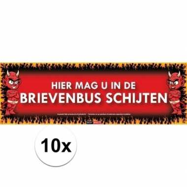 10x sticky devil hier mag u in de brievenbus schijten