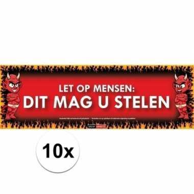 10x sticky devil let op mensen, dit mag u stelen