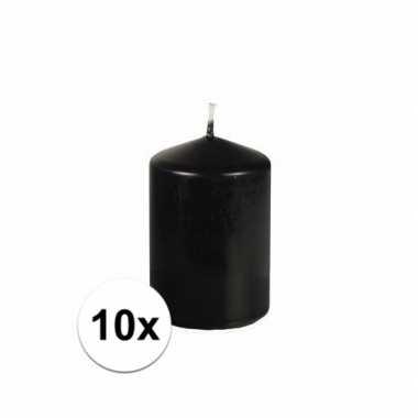 10x stompkaarsen zwart 6,5 cm doorsnede