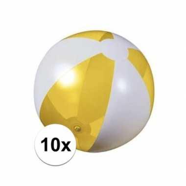 10x strandballen geel met wit