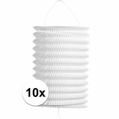 10x stuks bruiloft lampionnen wit