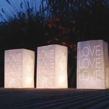 10x stuks candle bags set love 26 cm