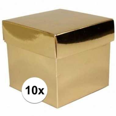 10x stuks gouden cadeaudoosjes/kadodoosjes 10 cm vierkant