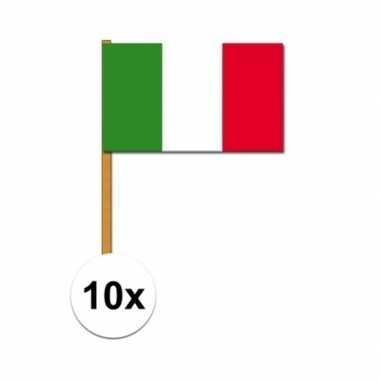 10x stuks italie zwaaivlaggetjes