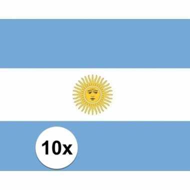 10x stuks stickertjes van vlag van argentinie