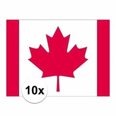10x stuks stickertjes van vlag van canada
