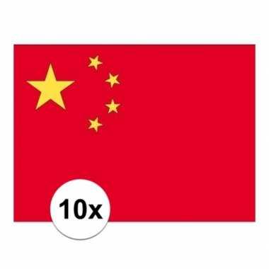 10x stuks stickertjes van vlag van china