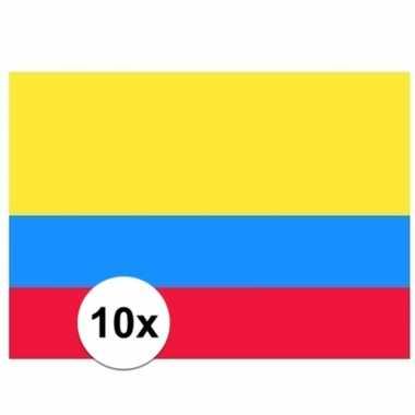 10x stuks stickertjes van vlag van colombia