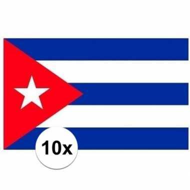 10x stuks stickertjes van vlag van cuba