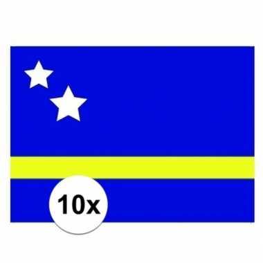 10x stuks stickertjes van vlag van curacao