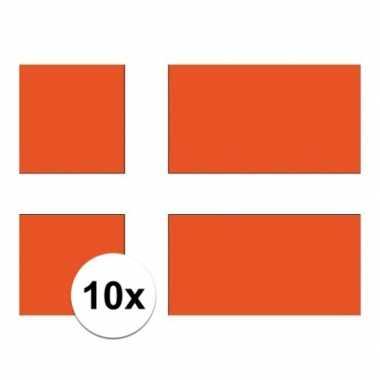 10x stuks stickertjes van vlag van denemarken