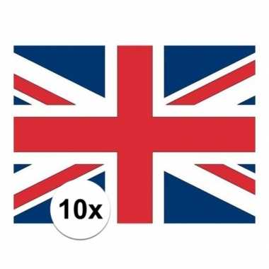 10x stuks stickertjes van vlag van engeland