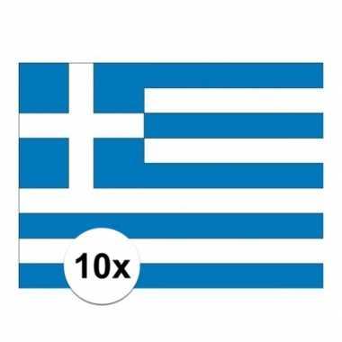 10x stuks stickertjes van vlag van griekenland