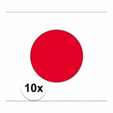 10x stuks stickertjes van vlag van japan
