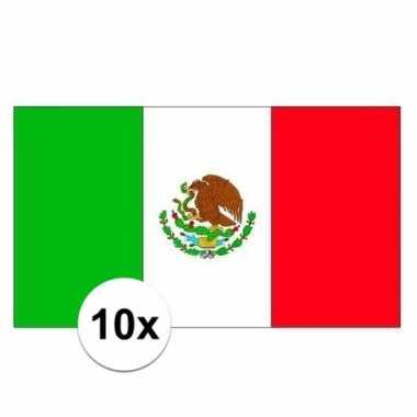 10x stuks stickertjes van vlag van mexico