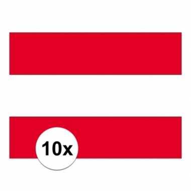 10x stuks stickertjes van vlag van oostenrijk