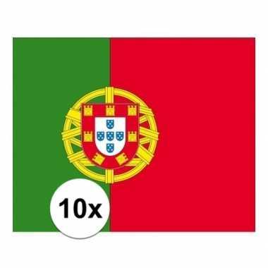 10x stuks stickertjes van vlag van portugal