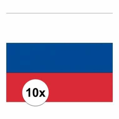 10x stuks stickertjes van vlag van rusland