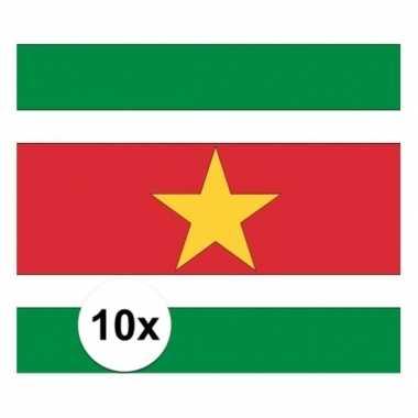 10x stuks stickertjes van vlag van suriname