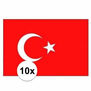 10x stuks stickertjes van vlag van turkije