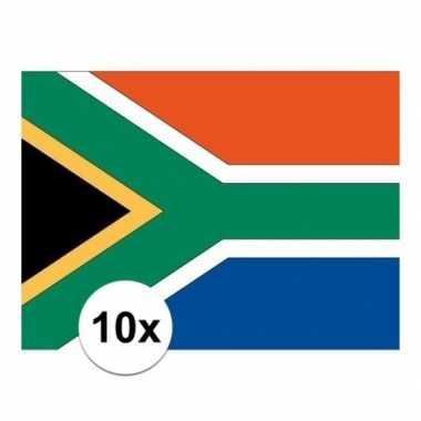 10x stuks stickertjes van vlag van zuid afrika