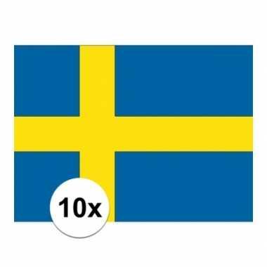 10x stuks stickertjes van vlag van zweden