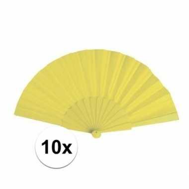 10x stuks zomerse waaiers geel 23 cm