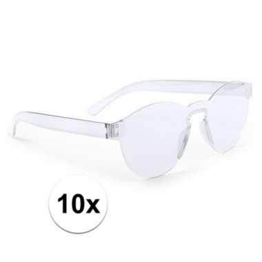 10x transparante feestbril voor volwassenen