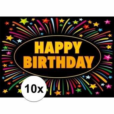 10x verjaardagskaart happy birthday 21 x 14,8 cm