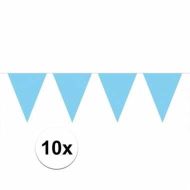 10x vlaggenlijnen baby blauw kleurig 10 m