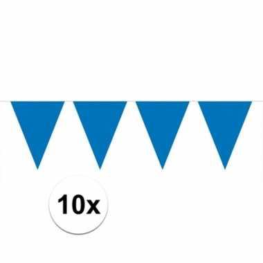 10x vlaggenlijnen blauw kleurig 10 m