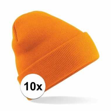 10x warme gebreide schaatsmuts in het oranje