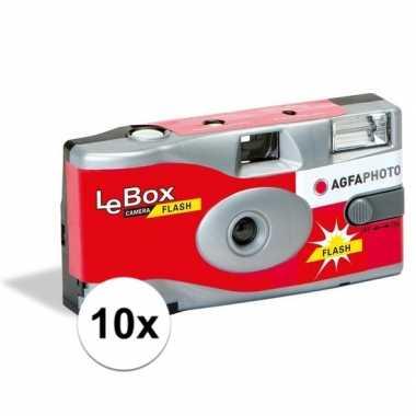 10x wegwerp camera/fototoestel met flits voor 27 kleuren fotos