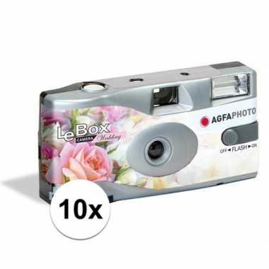 10x wegwerp cameras/fototoestelen met flits voor 27 kleurenfotos voor