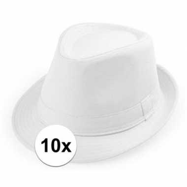 10x wit hoedje trilby model voor volwassenen