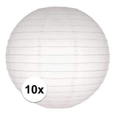 10x witte bruiloft versiering lampionnen rond 25 cm