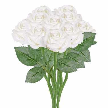10x witte kunstroos kunstbloemen 27 cm decoratie