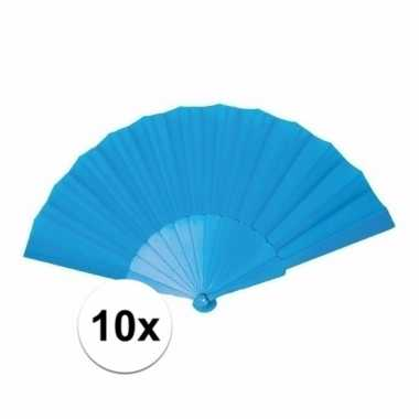 10x zomerse spaanse waaiers turquoise 23 cm