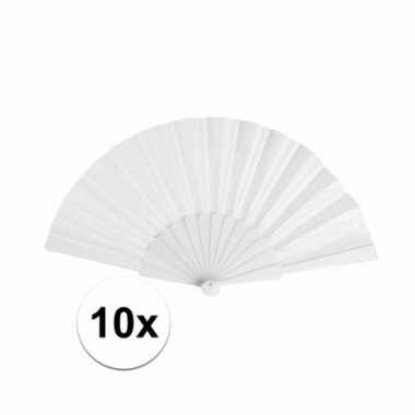 10x zomerse waaiers wit 23 cm