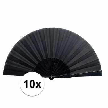 10x zomerse waaiers zwart 43 cm