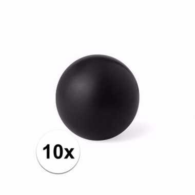 10x zwart stressballetje 6 cm
