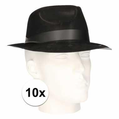 10x zwart verkleed hoedjes trilby model voor volwassenen