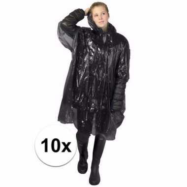 10x zwarte noodponcho doorschijnend