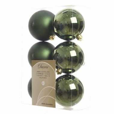 12-delige kerstballen set groen
