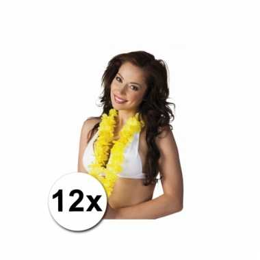 12 gele hawaii kransen