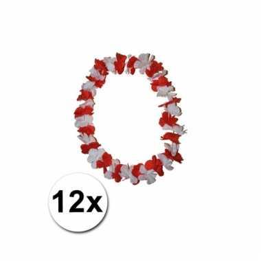 12 hawaii kransen rode en witte bloemen
