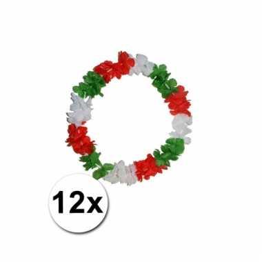 12 hawaii kransen rood, groen wit kleur