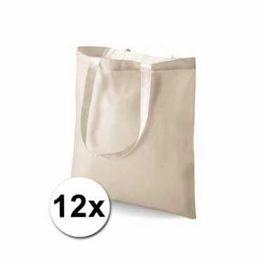 12 voordelige boodschappentassen naturel